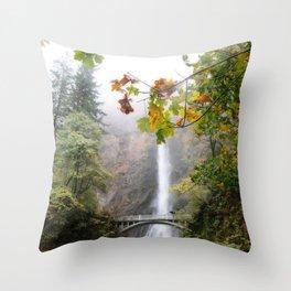 Autumn at Multnomah Falls Throw Pillow