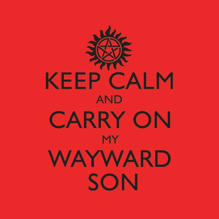 supernatural keep calm and carry on my wayward son duvet cover by
