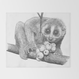 Slow Loris (Kera Duku) Throw Blanket