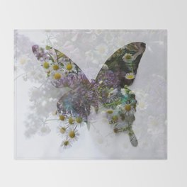 Beautiful floral butterfly Throw Blanket