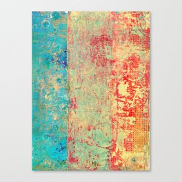 Brilliant Encounter, Abstract Art Turquoise Red Canvas Print