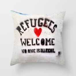 Refugees Welcome Throw Pillow