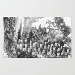 Jenga Tower Surrounded by Trees Rug