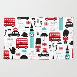 London icons illustration pattern print Rug