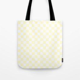 White and Cream Yellow Checkerboard Tote Bag