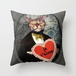 Je t'aime - Kitty Love Throw Pillow