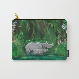 Rhinoceros mom and cub Carry-All Pouch