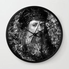 LEONARDO DA VINCI (BLACK & WHITE VERSION) Wall Clock