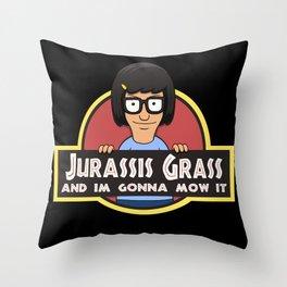 Jurassis Grass (Your ass is grass) Throw Pillow