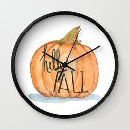 Hello fall pumpkin Wall Clock