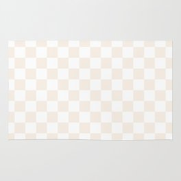 Small Checkered - White and Linen Rug