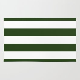 Large Dark Forest Green and White Cabana Tent Stripes Rug