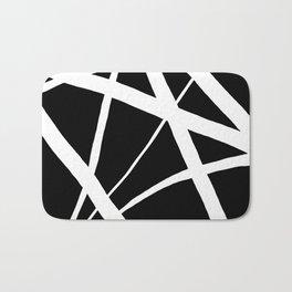 Geometric Line Abstract - Black White Bath Mat