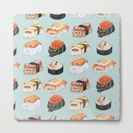 Sushi Persian Cat Watercolor Metal Print