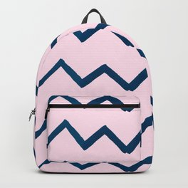 Geometric baby pink navy blue watercolor chevron Backpack