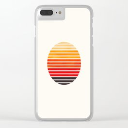 Orange Mid Century Modern Minimalist Scandinavian Colorful Stripes Round Circle Frame Clear iPhone Case
