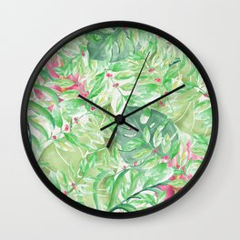 Hand painted watercolor green pink tropical leaves floral Wall Clock