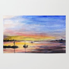 Sunset Watercolor Painting Landscape Art Rug