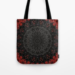 Red and Black Bohemian Mandala Design Tote Bag
