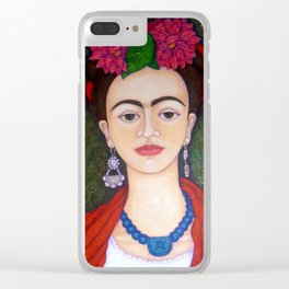 Frida Kahlo portrait with dalias Clear iPhone Case