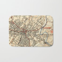 Vintage Map of Charlottesville Virginia (1949) Bath Mat