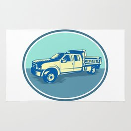 Tipper Pick-up Truck Oval Woodcut Rug