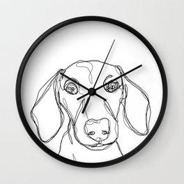 Dachshund one line illustration Wall Clock