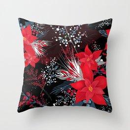 Christmas Poinsettia Flowers Throw Pillow