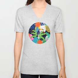 Bold Tropical Jungle Abstraction With Toucan Memphis Style Unisex V-Neck