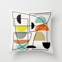 "Mid Century Modern ""Bowls"" Throw Pillow"