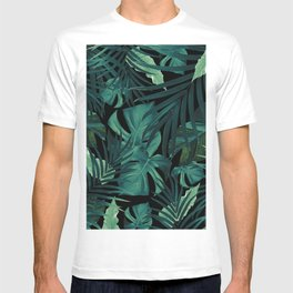 Tropical Jungle Night Leaves Pattern #1 #tropical #decor #art #society6 T-shirt