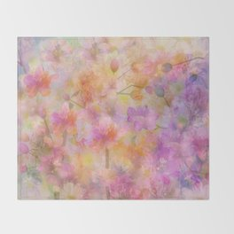 Sophisticated Painterly Floral Abstract Throw Blanket