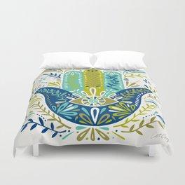 Hamsa Hand – Lime, Turquoise & Navy Palette Duvet Cover