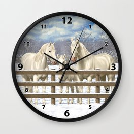 White Horses in Snow Wall Clock