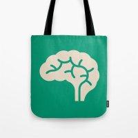 brain Tote Bags featuring Brain by Blank & Vøid