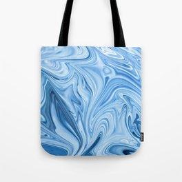 Blue Water Silk Marble Tote Bag