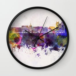 Nantes skyline in watercolor background Wall Clock