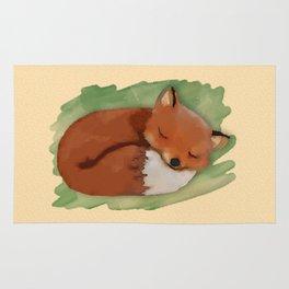 Sleepy Watercolor Fox Rug