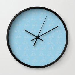 Blue Vintage Road Racing Bicycle Pattern Wall Clock