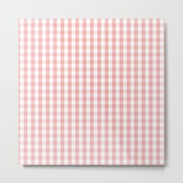 Large Lush Blush Pink and White Gingham Check Metal Print