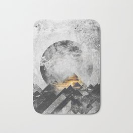 One mountain at a time - Black and white Bath Mat
