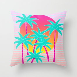 Hello Miami Sunset Throw Pillow