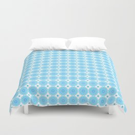 Background - blue mandala (zendala), abstract graphic-design vector pattern. Duvet Cover