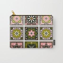 Talavera Mexican Tile – Blush & Sage Palette Carry-All Pouch