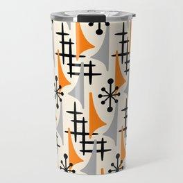 Mid Century Modern Atomic Wing Composition Orange & Gray Travel Mug