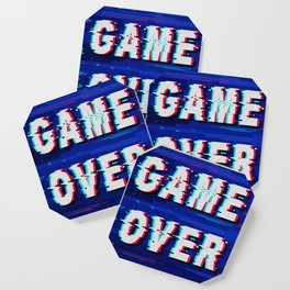 Game Over Glitch Text Distorted Coaster