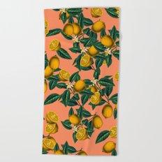 Lemon and Leaf Beach Towel