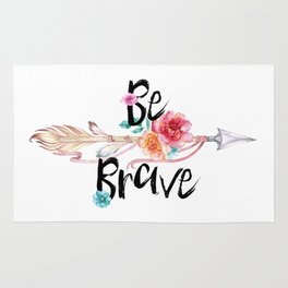 Be Brave Tribal Floral Watercolor Arrow Rug