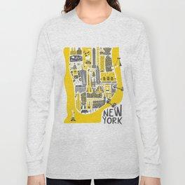 Manhattan New York Map Long Sleeve T-shirt