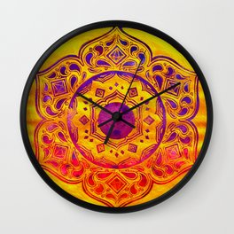 """""""SACRED GEOMETRY"""" WATERCOLOR MANDALA (HAND PAINTED) BY ILSE QUEZADA Wall Clock"""
